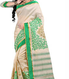 Buy Beige and Green embroidered silk saree with blosue jute-saree online