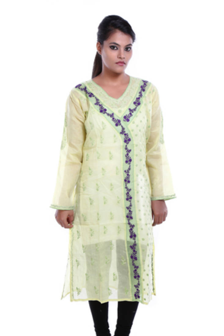 Buy ada hand embroidered large yellow cotton lucknow
