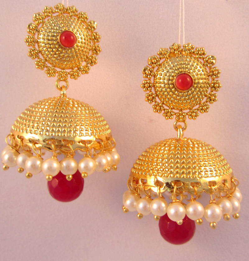 Red Chandelier India: Buy EARRINGS RED WHITE JHUMKA CHANDELIER GOLD PLATED PEARL