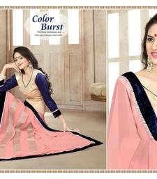 Buy Pink embroidered georgette saree with blouse velvet-saree online