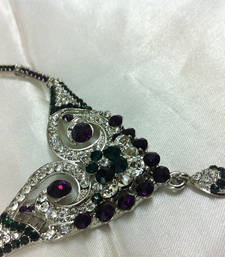 Buy Striking Dark Shades of Purple and Green Diamond Like Fashion Jewelry Set Necklace online