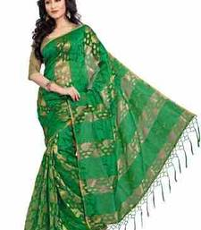 Buy Green plain chiffon saree with blouse tissue-saree online