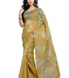 Buy Golden plain chiffon saree with blouse tissue-saree online