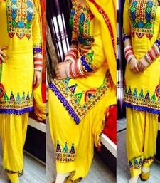 Buy Yellow embroidered Cotton unstitched salwar with dupatta patiala-salwar online