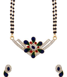 Buy Double Chain Mangaslutra Featuring V Shaped Pendant Decked With CZ mangalsutra online