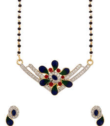 Buy Single Chain Mangaslutra Featuring V Shaped Pendant Decked With CZ mangalsutra online