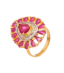Buy Drop Pink Stones Gold Plated Ring Ring online