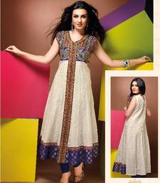 Buy ISHIN Cotton Cream kurti Pragya_XL kurtas-and-kurti online