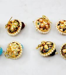 Buy Wholesale pack of Meenakaari jhumka with pearl studded over it (Four pairs) jhumka online