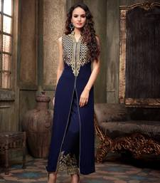 Buy dark blue  60 gm georgette embroidered semi_stitched salwar with dupatta wedding-salwar-kameez online