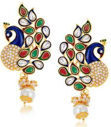 Buy Charming Peacock Gold Plated Australian Diamond Earrings hoop online