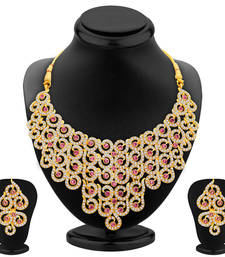 Buy Divine Gold Plated AD Necklace Set For Women necklace-set online