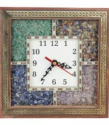 Buy Antique Handcrafted Gemstone Wooden Wall Clock 104 wall-clock online