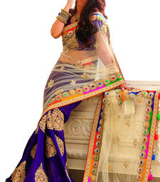 Buy Blue and offwhite embroidered net saree with blouse net-saree online