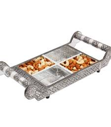 Buy Pure White Metal Dryfruit Tray Handicraft Gift tray online