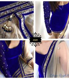 Buy Royal Blue embroidered velvet semi stitched salwar with dupatta punjabi-suit online