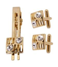 Buy Stone Studded Golden Cufflink With Tie Pin Other online