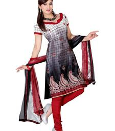 Fabdeal Grey & White Colored Crepe Jacquard Unstitched Salwar Suit shop online