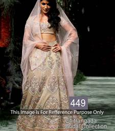 Buy Cream Net  unstitched lehenga-choli lehenga-choli online