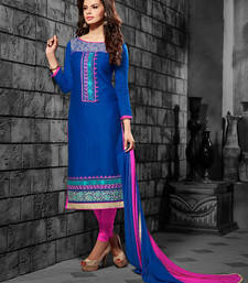 Buy blue embroidered pure cotton semi stitched salwar with dupatta pakistani-salwar-kameez online