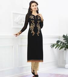 Buy Black Georgette embroidered kurti kurtas-and-kurti online
