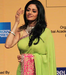 Buy Sridevi Bollywood Replica Green Georgette Saree sridevi-saree online