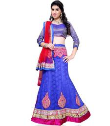 Buy Blue Embroidered Net Lehenga Choli With  Blouse ethnic-lehenga online