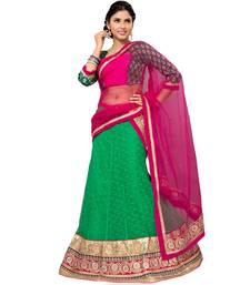 Buy GreenEmbroidered Net Lehenga Choli With  Blouse ethnic-lehenga online
