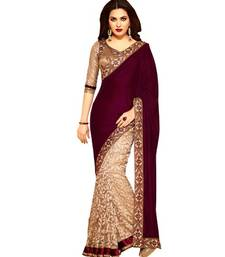 Buy Maroon embroidered georgette saree with blouse velvet-saree online