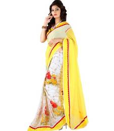 Buy yellow printed georgette saree with blouse sridevi-saree online