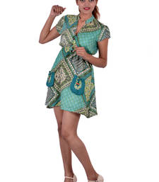 Buy Rayon Printed C.Green Color Dress top online