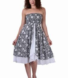 Buy Cotton Printed Black And White  Color Dress other-apparel online