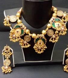 Buy silver jadtar necklace-set online