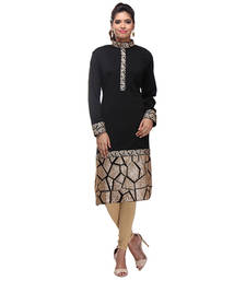 Buy black acrylic wool blend embroidered kurti kurtas-and-kurti online
