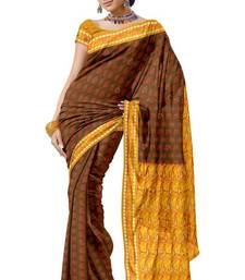 Light Brown Arificial Silk Bridal Wear Saree Sari PS235  shop online