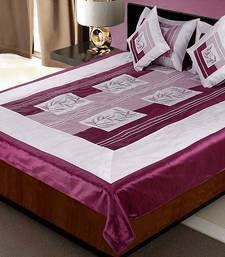 Buy Exclusive 5 Piece Magenta Silk Bedcover Cushion n Pillow Covers Set duvet-cover online