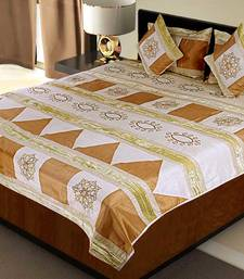 Buy Rajasthani 5 Piece Peach Silk Bedlinen Cushion n Pillow Covers Set duvet-cover online