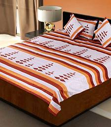 Buy 5 Piece Orange Silk Bedcover Cushion n Pillow Covers Set duvet-cover online