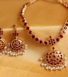 Buy GOLD PLATED TRADITIONAL MAROON STONE SOUTH INDIAN NECKLACE SET necklace-set online