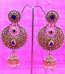 Buy Pearl Polki Unique Jhumka Deep Blue earring,Ethnic Indian Bollywood Jewelry v553 Earring online