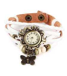 Buy white Designeer Leather Watch Watch gifts-for-sister online