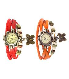 Buy red orange Designeer Combo Leather Watch Watch gifts-for-husband online