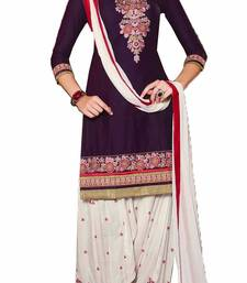 Buy Wine Purpal Cotton embroidered semi_stitched salwar with dupatta eid-special-salwar-kameez online