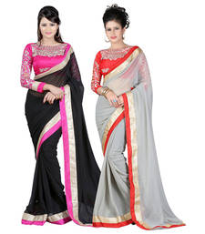 Buy Black and grey embroidered chiffon saree with blouse sarees-combo-sari online