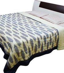 Buy Traditional Leafy Design Jaipuri Gold Print Double Bed Razai - 103 quilt online
