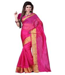 Buy Pink printed cotton poly saree with blouse printed-saree online