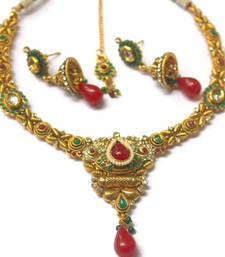 Buy Red green polki necklace set necklace-set online