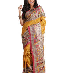 Buy Multicolor Printed Raw Silk saree with blouse tussar-silk-saree online