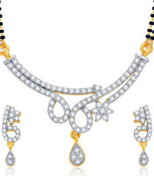 Buy Splendid Gold and Rhodium Plated CZ Mangalsutra Set For Women mangalsutra online