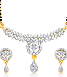 Buy Glistening Gold and Rhodium Plated CZ Mangalsutra Set For Women mangalsutra online